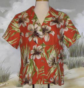 Valerie-Stevens-Hawaiian-Shirt-Orange-Green-Silk-Size-Large-LN