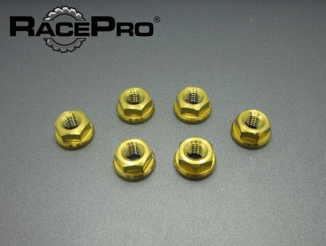 RacePro - Kawasaki NINJA ZX-6R 2003 x6 Titanium Rear Sprocket Nuts - Gold