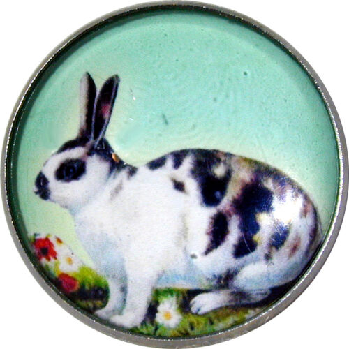 """Crystal Dome Speckled Button Bunny  1/"""" R 22 FREE US SHIPPING So Cute!"""