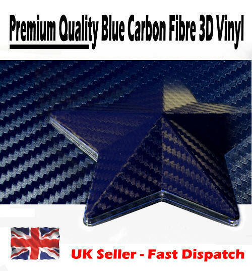 1520mm x 900mm Dark Blue 3D Textured Carbon Fibre Vinyl Film - Car Wrap Sticker