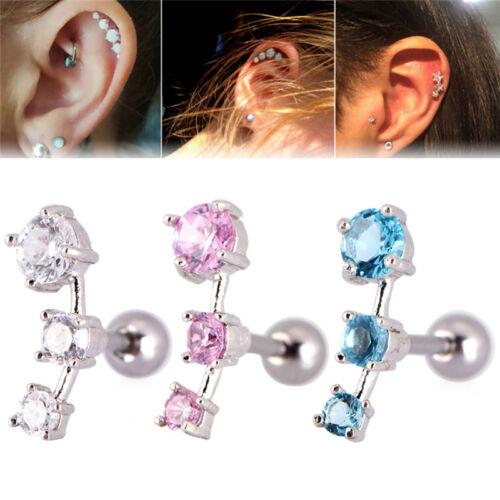 Cubic Zirconia Steel Barbell Ear Tragus Cartilage Helix Stud Earrings Piercin RS