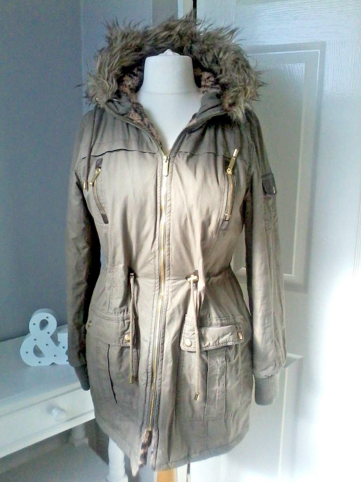 RUBY TUESDAY UK M 12 coat parka khaki hooded