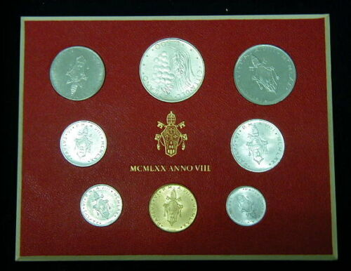 1970 Italy Vatican complete set coins UNC with silver in official box