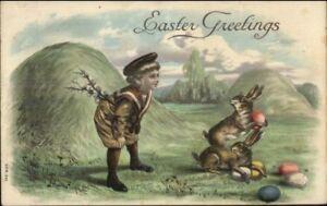 Easter-Boy-Watching-Rabbits-w-Eggs-c1910-Embossed-Postcard
