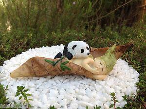 Miniature Figurine FAIRY GARDEN ~ Sleeping Leaf Fairy Baby with Panda ~ NEW