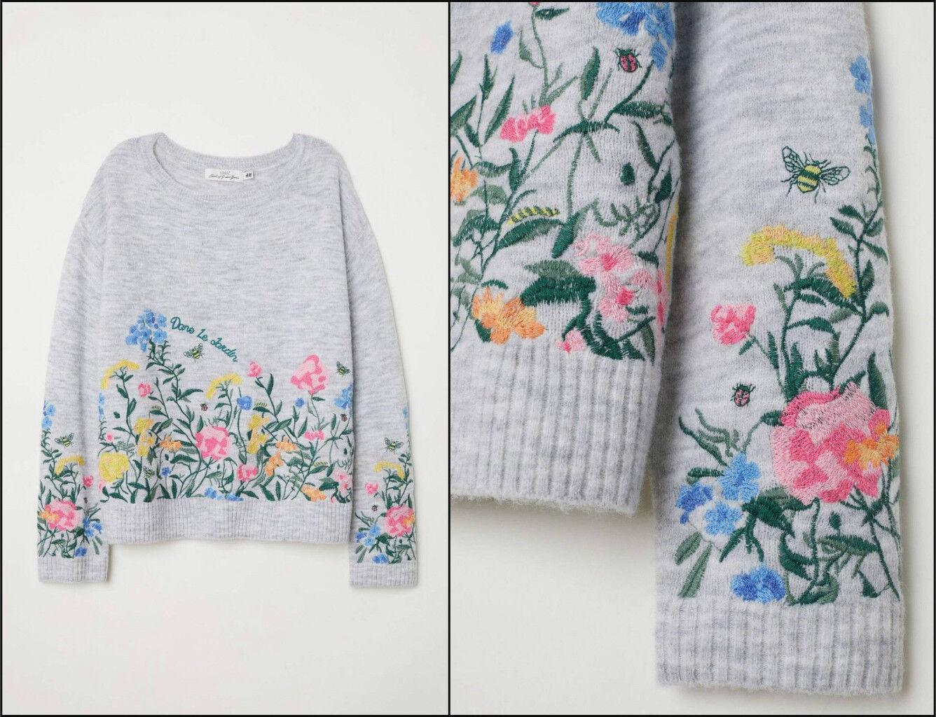 H&m Floral embroidered sweater jumper pullover con fiori RICAMO RICAMO