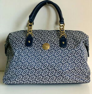 NEW-TOMMY-HILFIGER-BLUE-GOLD-CHAIN-BOWLER-SATCHEL-TOTE-BAG-PURSE-85-SALE