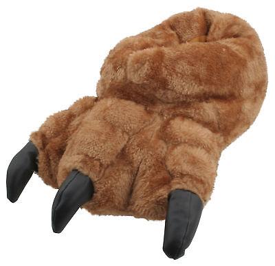Slumberzzz Da Uomo Novità Peluche Monster Claw Pantofole Marrone-