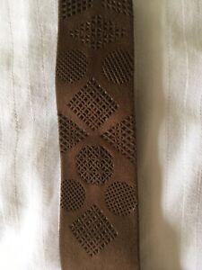 Vintage-Suede-Leather-Necktie-Light-Brown-1960s-Pencil-Style-Never-Worn-EC