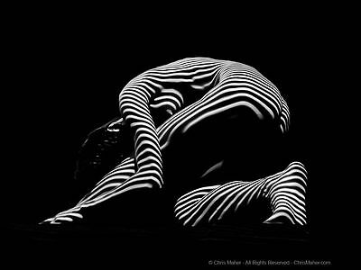 9983-DJA Arched Female Form BW Zebra Woman Lines Light Beautiful Signed Maher