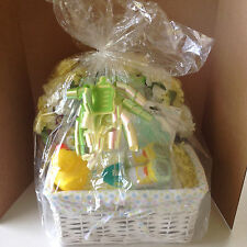 New Handmade Boy or Girl Baby Gift Basket White Basket Gift Bag Bow