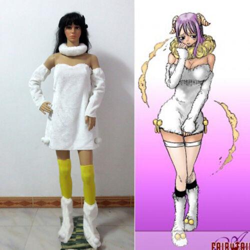 Fairy Tail Aries Cosplay Costume White Plush Dress White Party Dress