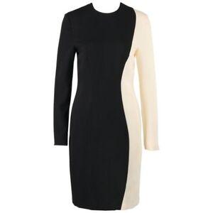 1797a422 Details about PIERRE CARDIN c.1980's Black & Ivory Colorblock Wool Long  Sleeve Shift Dress