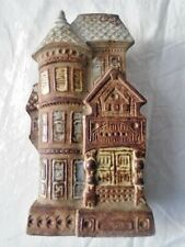 Vintage Counterpoint Blue Brown Victorian House Ceramic Wall Pocket Decor-Japan