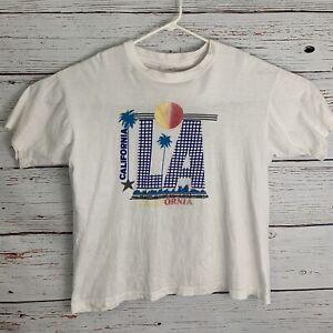 LA-California-Mens-sz-XL-White-Shirt-Vtg-Los-Angeles-Checkered-Palm-Trees