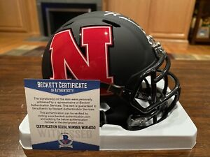 Mike Rozier Signed Nebraska Cornhuskers Black AMP Mini Helmet 83 Heisman Beckett