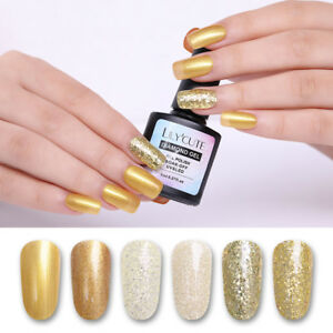 8ml-LILYCUTE-Gold-Glitter-Sequined-Nagel-Gellack-Soak-Off-Nail-UV-Gel-Manikuere