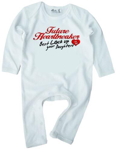 "Funny Baby Romper /""Future Heartbreaker Best Lock up Your Daughters/"""