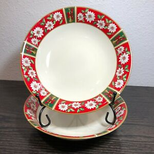 Charlton-Hall-Poinsettia-amp-Horn-Classic-Traditions-7-1-2-Salad-Bowl-Japan