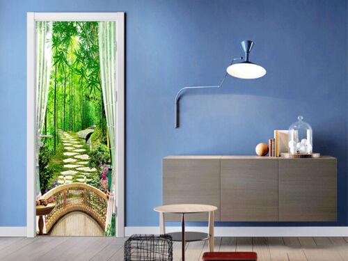 3D Balcony Bamboo Path Self-Adhesive Living Room Door Murals Wall Sticker Photo