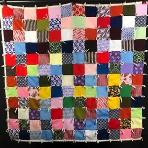 Vintage-Farmhouse-Lap-Quilt-Granny-Square-DOUBLE-KNIT-Blanket-Retro-Pink-Purple