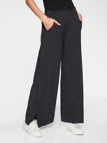 Wide leg pant with pockets Clearance Solid Black handmade