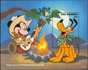 Gambia-1995-Disney-Mickey-Pluto-Cowboys-Cartoons-Animation-Music-1v-m-s-ad1093