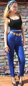 Versus '90 vita anni Gianni Sz Vintage Blue Versace a alta Pantaloni 8 Uk Pantaloni 4XqFSw