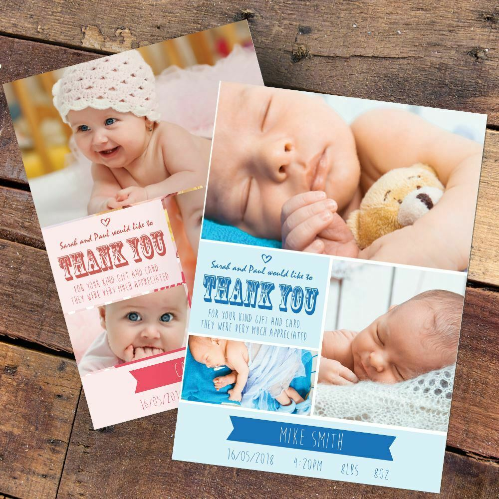 New Baby Thank You Cards, Personalised, Birth Announcement Girl Boy Free Proof