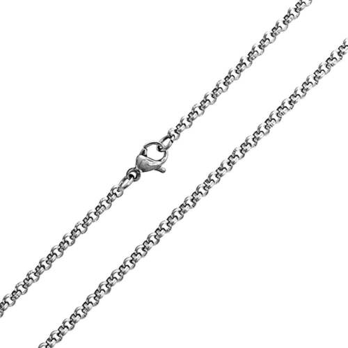 """316L Solid Durable Stainless Steel Rolo Link Chain Necklace 24/""""   2.5 mm"""