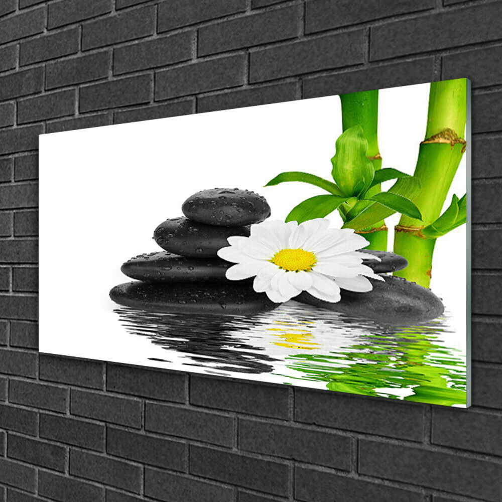 Print Print Print on Glass Wall art 100x50 Picture Image Bamboo Tube Flower Stones Floral 273bc7