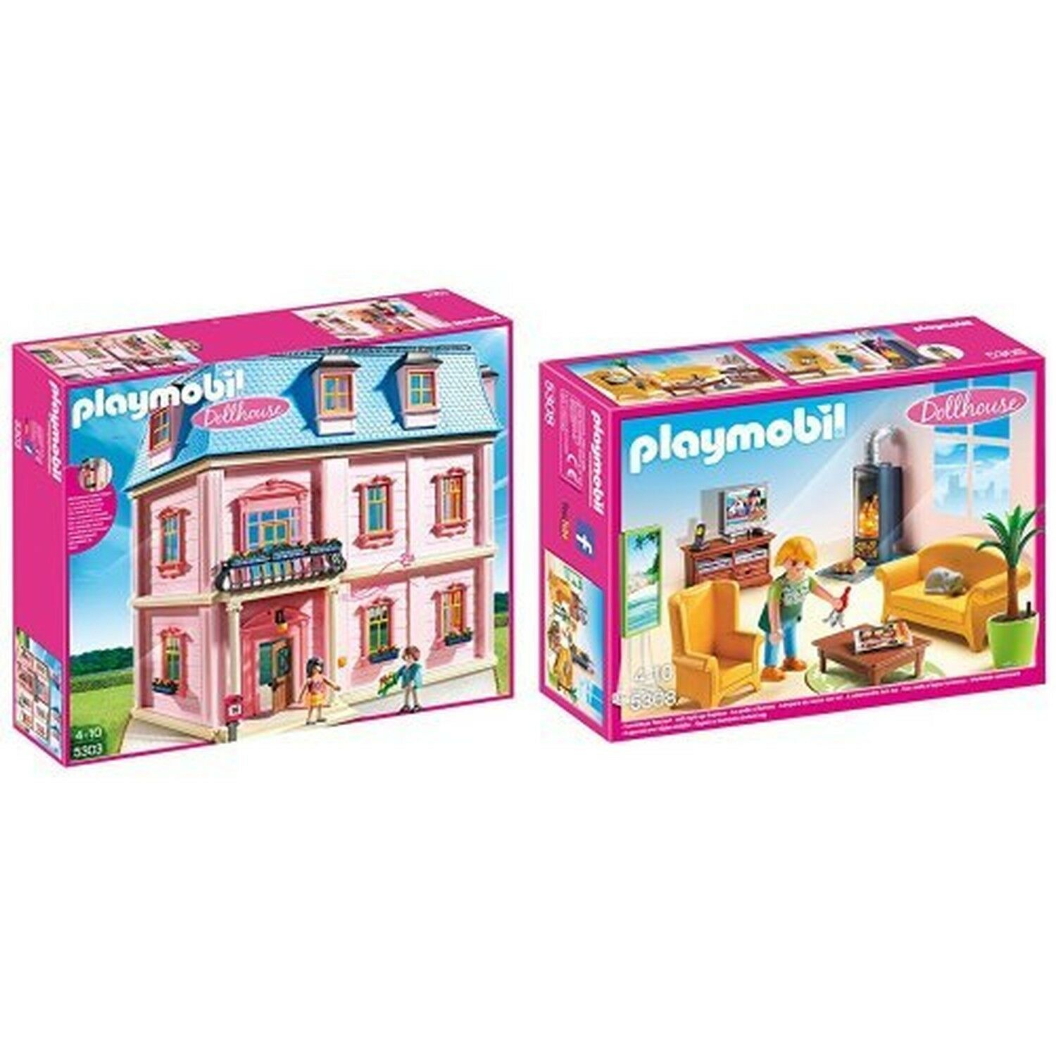 Playmobil Deluxe Doll House and Living Room Bundle