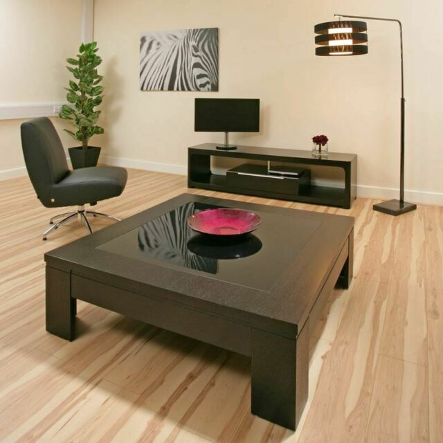Modern Designer Coffee Table Large Square Walnut With Black Glass 71e For Sale Ebay