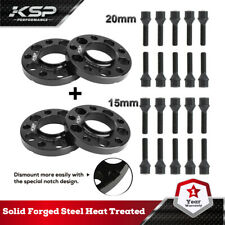 5x120 Staggered Wheel Spacers Kit (2) 15mm & (2) 20mm W/ Extended Bolts Fits BMW