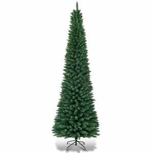 9Ft PVC Artificial Slim Pencil Christmas Tree w/ Stand ...