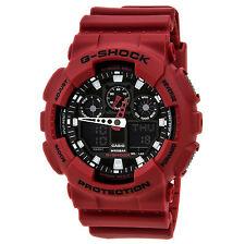 Casio GA100B-4A Mens G-Shock Ana-Digi Red Resin Anti-Magnetic World Timer Watch