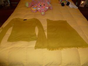 BCIM (Line of BEDO) Knit Top/Tunic and Skirt Set in Light Mustard Size M.