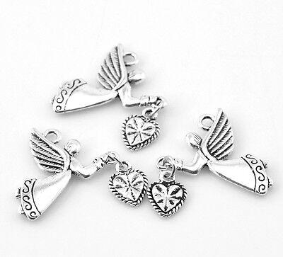"10PCs Silver Tibetan Angel Love Heart Charm Pendants 25x22mm(1""x7/8"")"