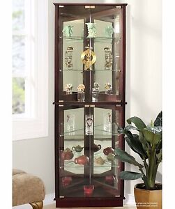Awesome Lighted Corner Curio Cabinet