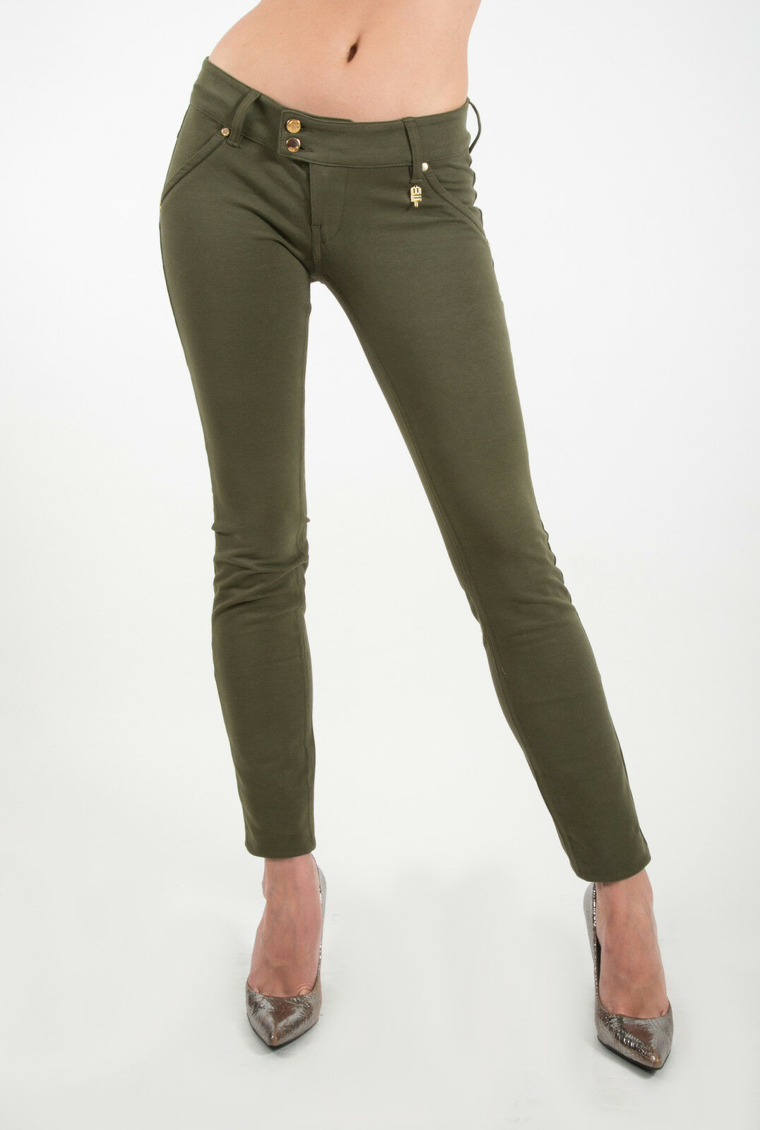 MET in Jeans K-FIT J green Olive Stretch Pants Slim fit plush trousers low-waist