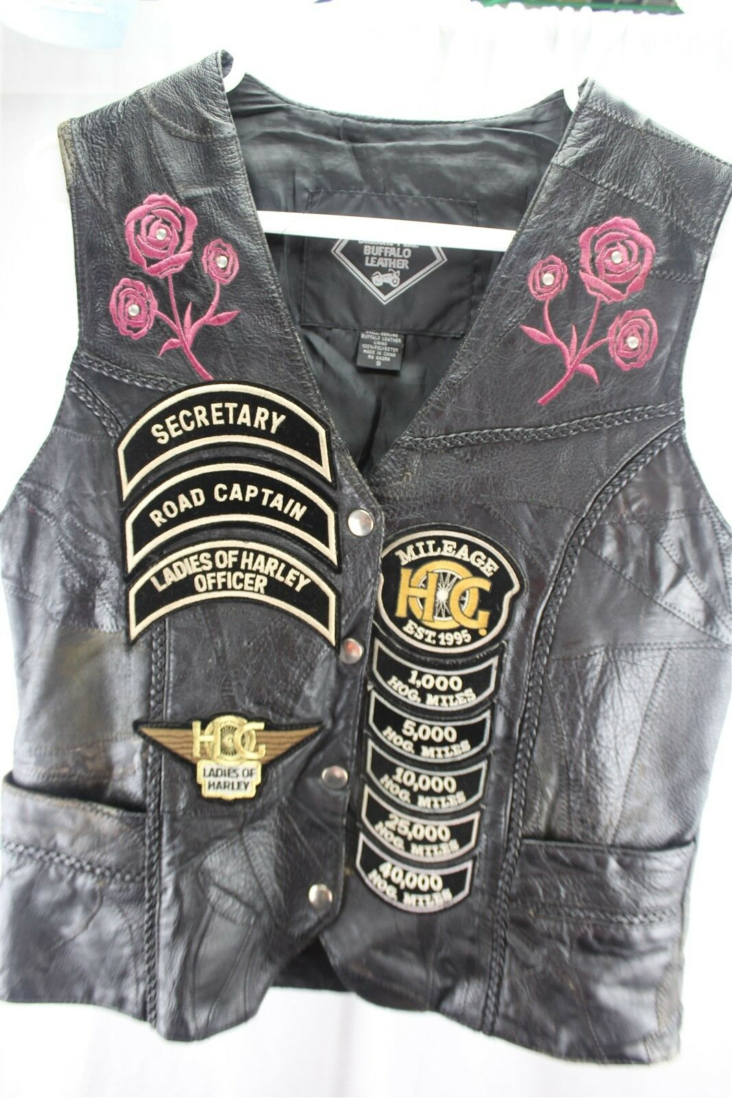 Harley Davidson Ladies Buffalo Leather Vest w  Patches Small Women's Vest