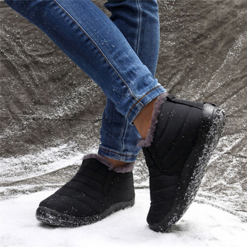 Womens Waterproof Winter Shoes Snow Boots Fur-lined Slip On Casual Ankle Shoes