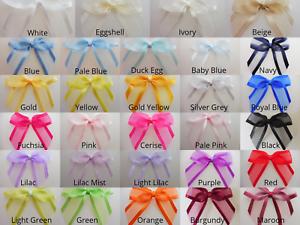 Satin Bord Organza Ribbon Bows-autocollante - 4.5cm- Pkt 6 (15 Mm Ruban)-- Pkt 6 (15mm Ribbon) Fr-fr Afficher Le Titre D'origine