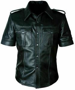Men/'s Hot Real Sheep Tan Brown Leather Police Uniform Shirt Bluff Gay