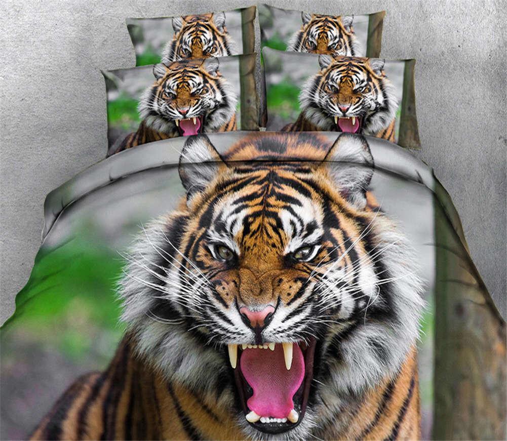 Violent Tiger 3D Printing Duvet Quilt Doona Covers Pillow Case Bedding Sets