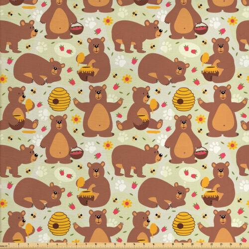 Bär Stoff als Meterware Wilder Bär der Honig isst