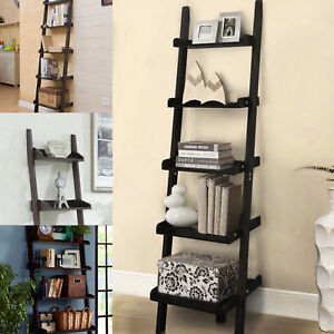 Image Is Loading 5 Tiers Wooden Wall Rack Leaning Ladder Shelf