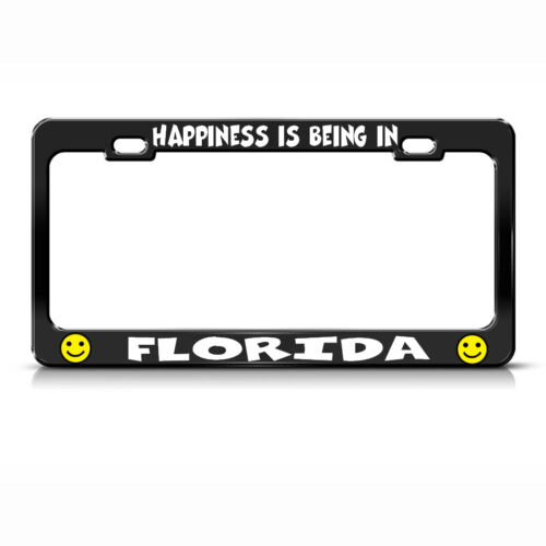 HAPPINESS IS BEING IN FLORIDA Black License Plate Frame Tag Border