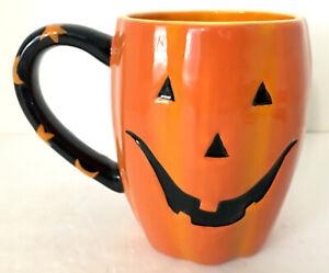 Halloween-Orange-Ceramic-Pumpkin-Mug-5-034-H-3-5-034-diameter-3-available-EUC