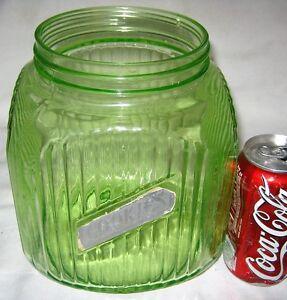 2 ANTIQUE USA COUNTRY KITCHEN HOOSIER CABINET VASELINE GLASS COOKIE ...